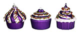 3'' Purple Cupcakes Ornaments Set of 3