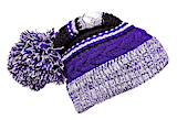 Pom Beanie White and Purple Winter Hat