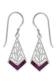 Silver Purple Turquoise Leaf Earrings