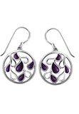 Circle Silver Dangle Earrings with Teardrop Purple Turquoise