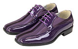 Mens Purple Patent Dress Oxford Shoes With Stripes