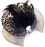 Purple Leopard Print Mini Hat Hair Clip