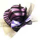 Purple Zebra Print Mini Hat Hair Clip