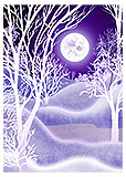 Night Winter Trees and Moon Purple Greeting Card