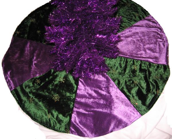 Purple And Green Crushed Velvet Christmas Tree Skirt