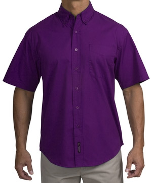 Short Sleeve Purple Dress Shirt, Button Down