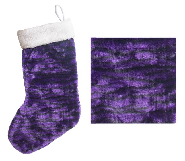 plush jungle print purple christmas stocking wpurple bells