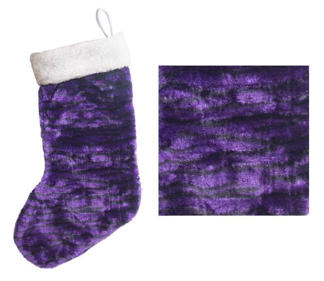 plush jungle print purple christmas stocking wpurple bells - Purple Christmas Stocking