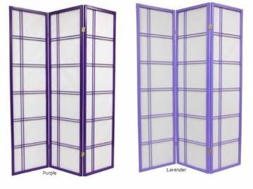 Purple Shoji Screen Japanese Room Divider Double Cross Lattice