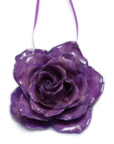 preserved purple rose christmas ornament