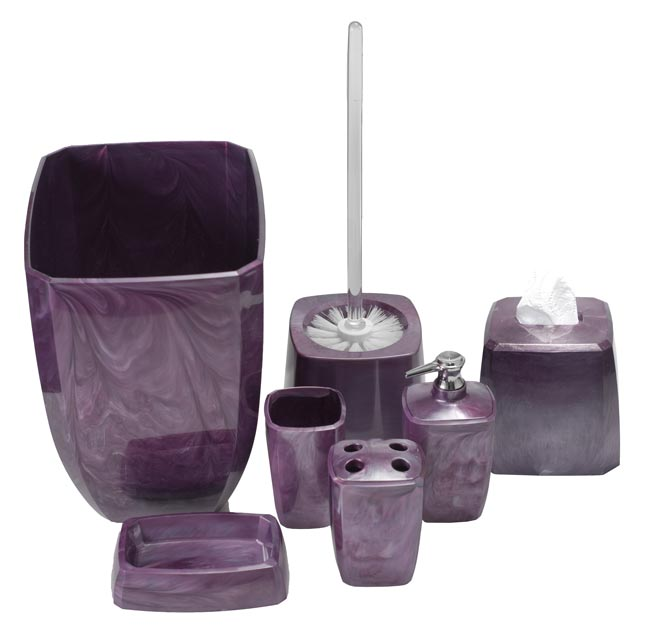 purple swirl bathroom accessories, Bathrooms