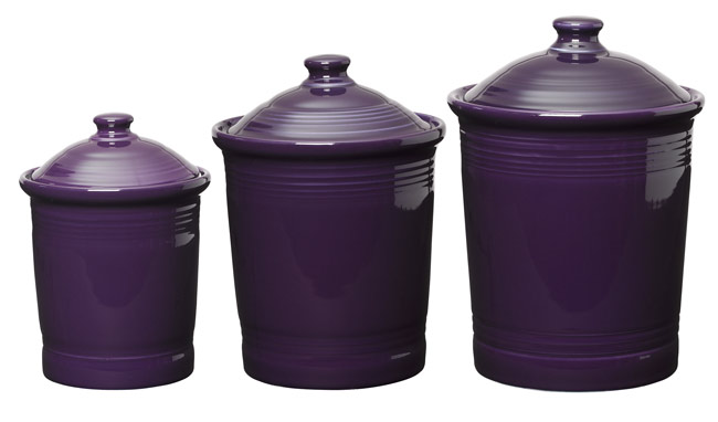 sc 1 st  The Purple Store & Plum Fiesta Purple Kitchen Canister Set of 3 Sizes