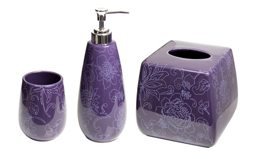 Bathroom Accessories Purple botanica purple bathroom accessories, basics set