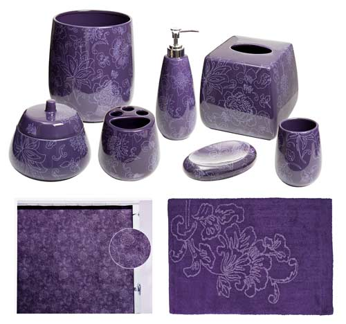 Botanica Purple Bathroom Accessories, Deluxe Set
