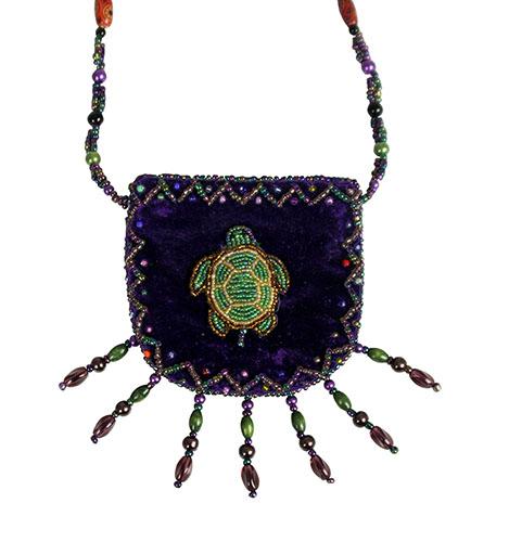 Purple Velvet Beaded Bag With Beaded Turtle