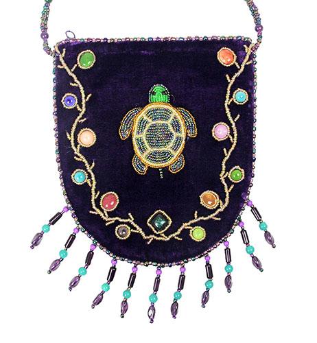 Purple Velvet Beaded Bag With Velvet Beaded Strap And Large Turtle