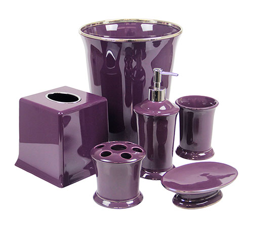 Bathroom Accessories Purple regal purple bathroom accessories deluxe set