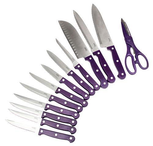 14 Piece Ginsu Purple Kitchen Knife Set