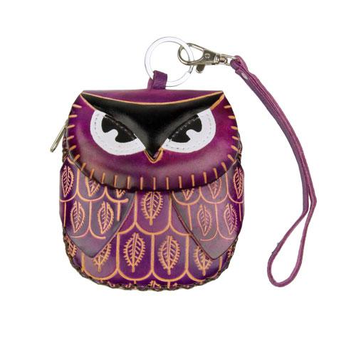 Purple Leather Coin Purse Owl