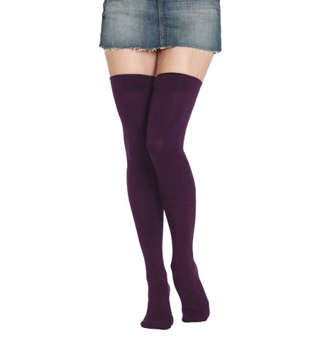 9b10fb12e Combed Cotton Purple Thigh High Socks