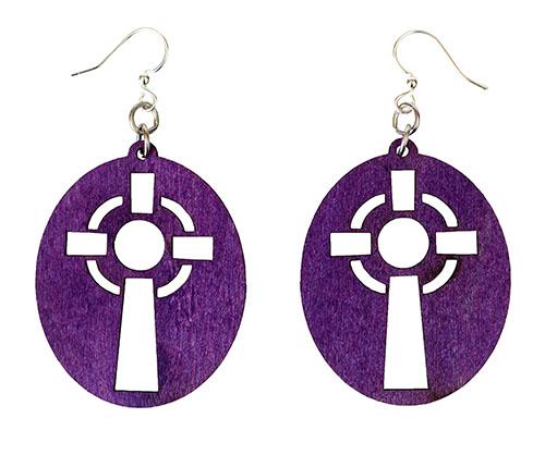 Purple Cross earrings