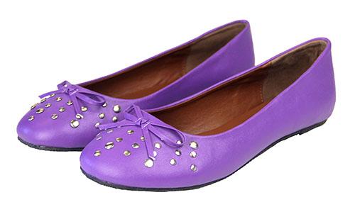 Studded Purple Ballet Flats