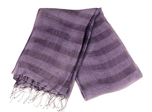 1b90a942990af Elegant Dark Purple Raw Silk Scarf with Double Horizontal Bar Details