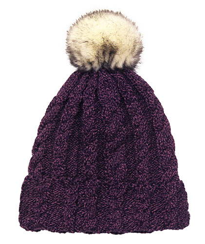 Thermal Lined Purple Cable Knit Winter Hat with Pom d6efbb586218