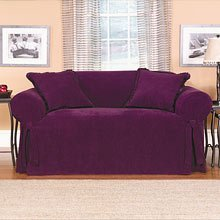 Phenomenal Plum Chenille Loveseat Slipcover Gmtry Best Dining Table And Chair Ideas Images Gmtryco