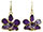 Gold-Trimmed Real Dendrobium Orchids - Purple Pierced Earrings