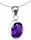 Silver Amethyst Purple Necklace, Oval