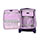 Set of 3 Deep Purple Suitcases with White Piping Accent