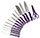 14 Piece Ginsu Purple Kitchen Knife Set - Black Block