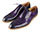 Leather Men's Purple Oxford Shoes with Contrast Soles