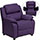 Purple Plush Padded Kids Recliner with Storage Arms