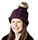 Thermal Lined Purple Cable Knit Winter Hat with Pom