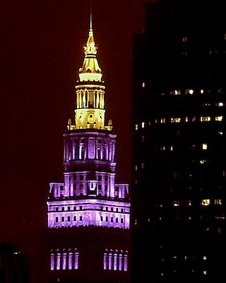 Cleveland Terminal Tower Purple for Kobe Bryant Tribute