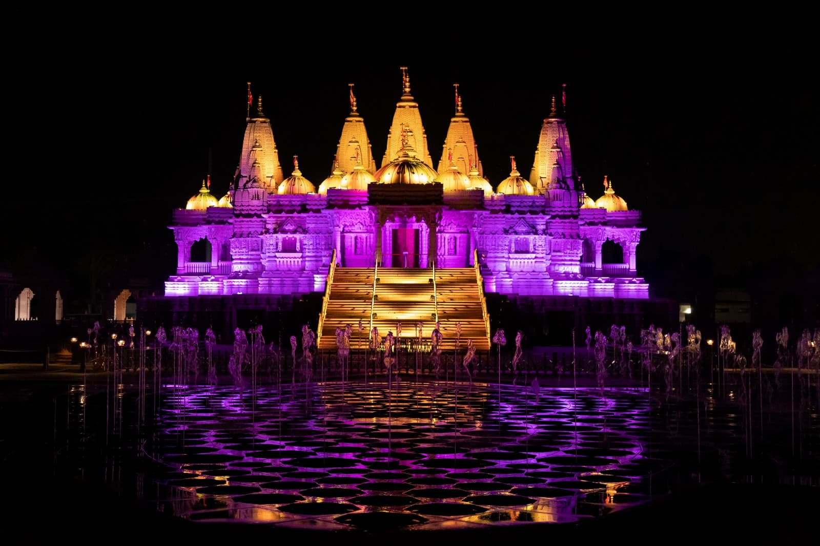 BAPS Hindu temple, Chino Hills Purple and Gold for Kobe Bryant
