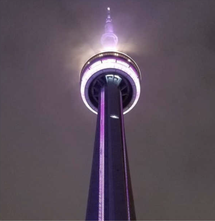 Toronto's CN Tower Purple and Gold for Kobe Bryant