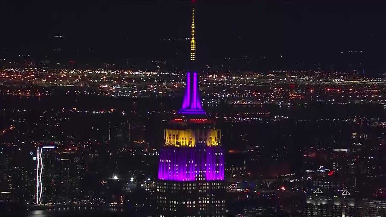 Empire State Building Purple and Gold for Kobe Bryant