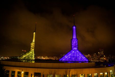 Portland Convention Center Purple and Gold for Kobe Bryant